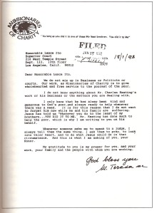Mother Teresa\'s letter to judge Ito in the trial of Charles Keating