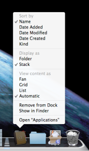 Dock Folder options for viewing in \'Fan\', \'Grid\' or \'List\' mode