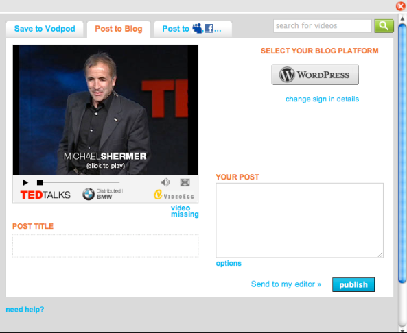 Any video sharing site which includes embed code, can now be posted to your wordpress.com free hosted blog