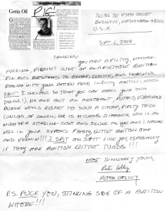 A sample of the hate mail Dawkins received for writing this article